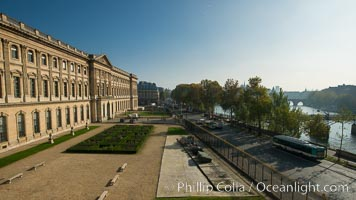 Musee du Louvre and Seine River, viewed from Pavilion Denon, Paris, France