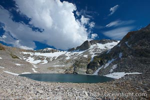 Nameless Lake (10709'), surrounded by glacier-sculpted granite peaks of the Cathedral Range, near Vogelsang High Sierra Camp, Yosemite National Park, California