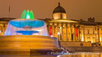 National Gallery at Night, London, United Kingdom