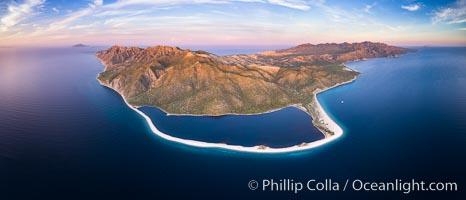 Natural Salt Lake on Isla San Jose, Aerial View, Sea of Cortez. Isla San Jose, Baja California, Mexico, natural history stock photograph, photo id 33620