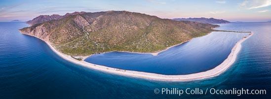 Natural Salt Lake on Isla San Jose, Aerial View, Sea of Cortez