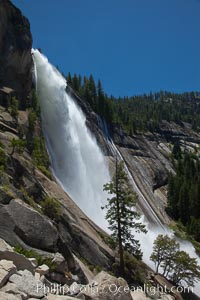 Nevada Falls in peak spring flow, from heavy snow melt in the high country above Yosemite Valley, Yosemite National Park, California