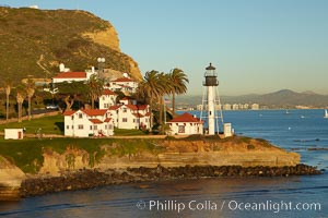 New Point Loma Lighthouse, situated on the tip of Point Loma Peninsula, marks the entrance to San Diego Bay.  The lighthouse rises 70&#39; and was built in 1891 to replace the &#34;old&#34;  Point Loma Lighthouse which was often shrouded in fog