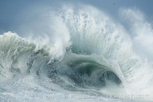 Backwash tosses up a foamy lip.  The Wedge, Newport Beach, California