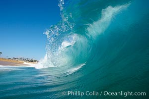 Wave breaking, tube, Newport Beach.,  Copyright Phillip Colla, image #16804, all rights reserved worldwide.