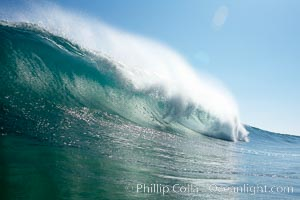 Wave breaking, tube, Newport Beach