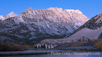 North Lake and Sierra Nevada, predawn alpenglow lights the peaks, Bishop Creek Canyon Sierra Nevada Mountains