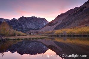 North Lake and aspen trees at sunset, Bishop Creek Canyon Sierra Nevada Mountains
