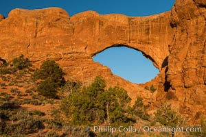 North Window at Sunrise, Arches National Park. North Window, Arches National Park, Utah, USA, natural history stock photograph, photo id 29281