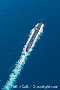 Nuclear submarine at the surface of the ocean, aerial photo, San Diego, California