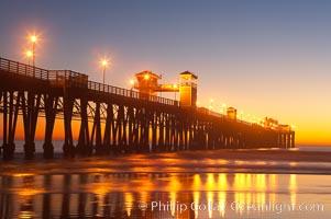 Oceanside Pier at dusk, sunset, night.  Oceanside. Oceanside Pier, Oceanside, California, USA, natural history stock photograph, photo id 14628