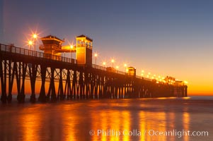 Oceanside Pier at dusk, sunset, night.  Oceanside. Oceanside Pier, Oceanside, California, USA