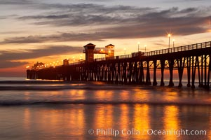 Oceanside Pier at dusk, sunset, night