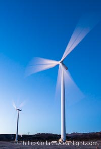 Ocotillo Express Wind Energy Projects, moving turbines lit by the rising sun, Ocotillo, California, USA, natural history stock photograph, photo id 30246
