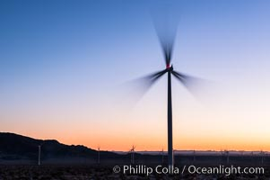 Ocotillo Express Wind Energy Projects, moving turbines lit by the rising sun, Ocotillo, California, USA, natural history stock photograph, photo id 30247