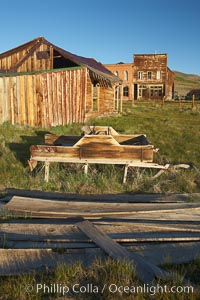 Old barn, with Main Street and I.O.O.F. Hall in background, Bodie State Historical Park, California