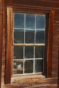 Old window, on barber shop, Bodie State Historical Park, California