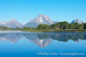 Mount Moran rises above the Snake River at Oxbow Bend, Grand Teton National Park, Wyoming