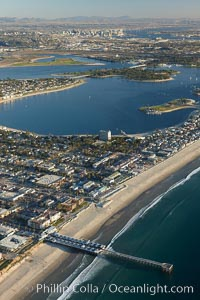 Pacific Beach, Crystal Pier and Mission Bay, looking south.  Downtown San Diego is seen in the distance