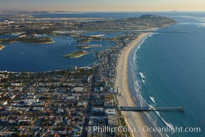 Pacific Beach, Crystal Pier and Mission Bay, looking south.  Point Loma is seen in the distance, San Diego, California