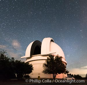 Palomar Observatory at night, under a sky of stars, Palomar Mountain, California