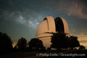 Palomar Observatory at Night under the Milky Way. Palomar Observatory, Palomar Mountain, California, USA, natural history stock photograph, photo id 29347
