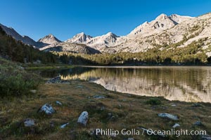 Panorama of Bear Creek Spire over Long Lake at Sunrise, Little Lakes Valley, John Muir Wilderness, Inyo National Forest. Little Lakes Valley, Inyo National Forest, California, USA, natural history stock photograph, photo id 31174