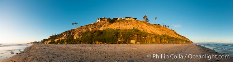 Panorama of Encinitas beach and seacliffs, sunset