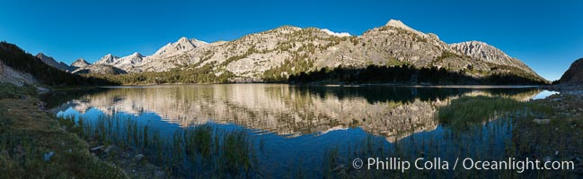 Panorama of Long Lake at Sunrise, Little Lakes Valley, John Muir Wilderness, Inyo National Forest, Little Lakes Valley, Inyo National Forest