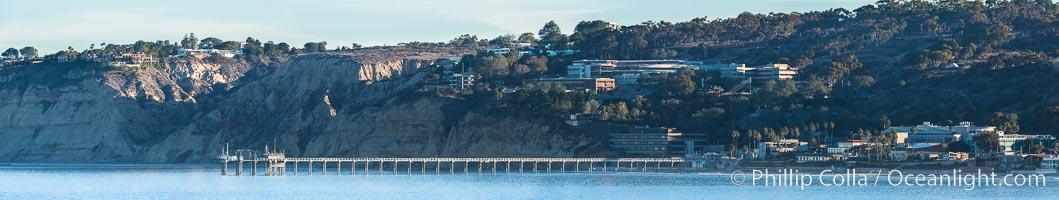 Panorama of SIO Pier, Scripps Institute of Oceanography research pier, Scripps Institution of Oceanography, La Jolla, California