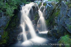 Paradise Falls tumble over rocks in Paradise Creek, Mount Rainier National Park, Washington