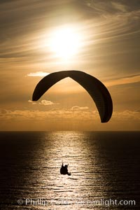 Paraglider and sunset, La Jolla, California