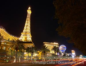 Half-scale replica of the Eiffel Tower rises above Las Vegas Boulevard, the Strip, in front of the Paris Hotel