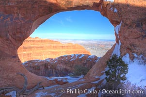 Partition Arch with views of Devils Garden beyond, winter, Arches National Park, Utah