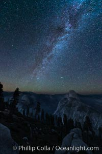 Perseid Meteor Shower and Milky Way, over Half Dome and Yosemite National Park, Glacier Point