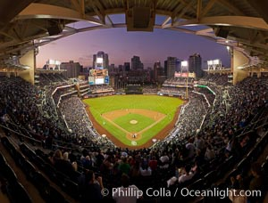 Petco Park, home of the San Diego Padres professional baseball team, overlooking downtown San Diego at dusk. San Diego, California, USA, natural history stock photograph, photo id 27051