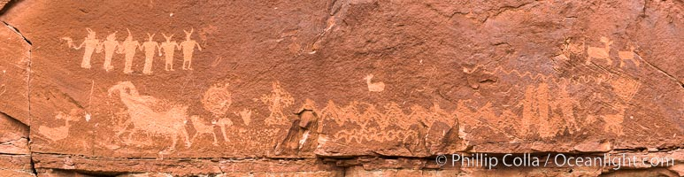 Petroglyphs and native American rock art, Moab, Utah