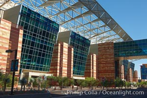 Phoenix Convention Center. Originally built in 1972 and expanded in 1985 and the mid-90's, the Phoenix Convention center offers 300,000 square feet of space for conventions year round.  It's exterior is a mix of modern glass, metal and stone architecture