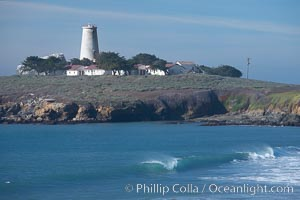 Piedras Blancas lighthouse.  Completed in 1875, the 115-foot-tall Piedras Blancas lighthouse is one of the few tall-style lighthouses on the West Coast of the United States.  Piedras Blancas, named for a group of three white rocks just offshore, is north of San Simeon, California very close to Hearst Castle
