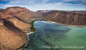 Playa Gallina and arroyo on Isla Espiritu Santo, Sea of Cortez, Aerial Photo. Isla Espiritu Santo, Baja California, Mexico, natural history stock photograph, photo id 32469