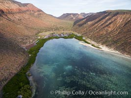 Playa Gallina and arroyo on Isla Espiritu Santo, Sea of Cortez, Aerial Photo. Isla Espiritu Santo, Baja California, Mexico, natural history stock photograph, photo id 32470