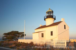 The old Point Loma lighthouse operated from 1855 to 1891 above the entrance to San Diego Bay.  It is now a maintained by the National Park Service and is part of Cabrillo National Monument. Cabrillo National Monument, San Diego, California, USA, natural history stock photograph, photo id 14522