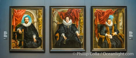 Portraits by Jacob Jordaens, Rijksmuseum. Portrait of Rogier Le Witer, Jacob Jordaens (I), 1635, canvas, h 152cm x w 118.4cm (left). Portrait of Catharina Behaghel, Jacob Jordaens (I), 1635, canvas, h 152cm x w 118cm (center). Portrait of Magdalena de Cuyper, Jacob Jordaens (I), c. 1635 - c. 1636, oil paint, h 152cm x w 118cm (right), Amsterdam, Holland, Netherlands