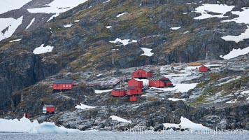 Primavera Base, (Argentina) on the slopes above Cierva Cove, Antarctica. Cierva Cove, Antarctic Peninsula, Antarctica, natural history stock photograph, photo id 25556
