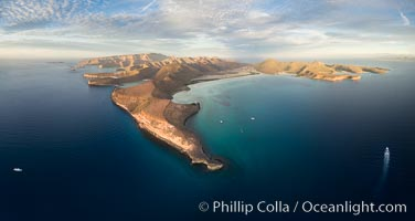 Punta Prieta and San Gabriel Bay, Aerial Photo, Sunset, Isla Espiritu Santo, Baja California, Mexico