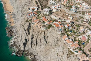Private homes built on the bluffs overlooking the ocean at Cabo San Lucas. Cabo San Lucas, Baja California, Mexico, natural history stock photograph, photo id 28885
