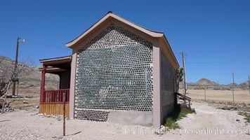 The strange &#34;bottle house&#34; of Rhyolite ghost town, near Death Valley. It was built in 1906 by Tom Kelley of approximately 50,000 beer bottles and was his home for a while
