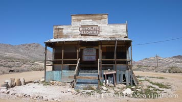 Former mercantile store building, long abandoned, in the ghost town of Rhyolite.  Rhyolite, on the border of Death Valley, was a gold and mineral mining town from 1904 to 1919, when it was abandoned