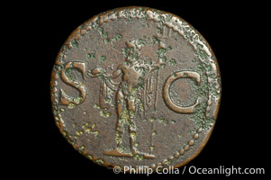 Roman emperor Agrippa (18-11 B.C.), depicted on ancient Roman coin (bronze, denom/type: As) (Issued by Caligula AS; F+; RIC 58, (Tib.) 32; BMC 161.)