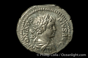 Roman emperor Caracalla (198-217 A.D.), depicted on ancient Roman coin (silver, denom/type: Denarius)